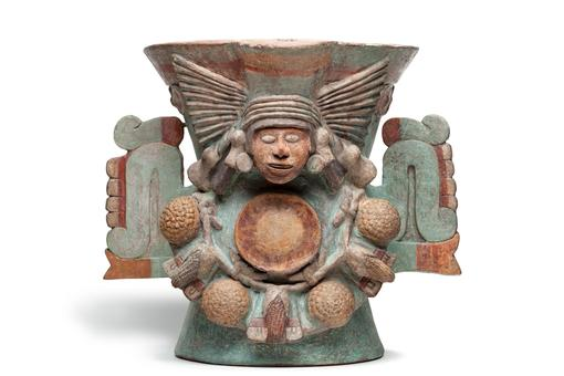 Incense burner in the shape of the goddess of water and fertility Chalchiuhtlicue Ceramic, pigment