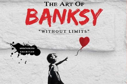 Black and red lettering of the exhibition in front of a light-grey background, underneath the representation of a little girl, who flees a red heart-shaped balloon