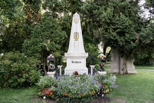 Colour photo of the grave of Ludwig van Beethoven at Vienna Central Cemetery