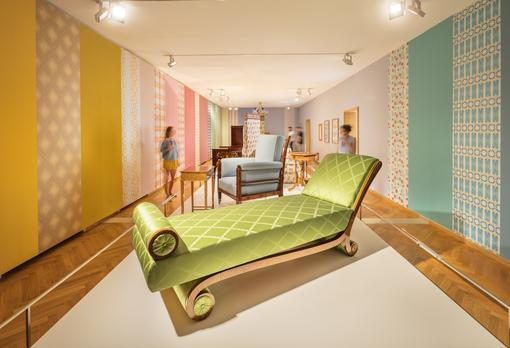 Furniture Museum Vienna, department Biedermeier: armchairs, sofas and wallpaper, in the front a lime green sofa