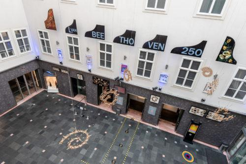 Exhibition view in the inner courtyard of Haus des Musik