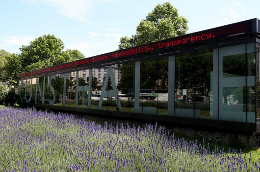 Photo of the Kunsthalle Wien at Karlsplatz, in the foreground a lavender bed