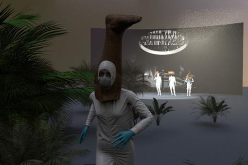 Photo with a woman in white protective suit, with protective mask and blue disposable gloves, above her head a stylized brown leg, in the background a stage with three other people in white protective suits, in between artificial palm trees