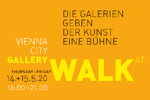 Logo of the Vienna City Gallery Walk, black, white and yellow writing on orange background