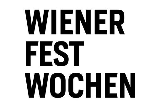 Black lettering Wiener Festwochen in block letters on white background