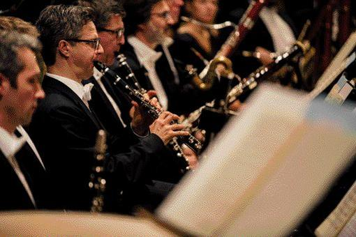 Photo shows a part of the Vienna Symphony Orchestra, in the foreground 2 clarinet players