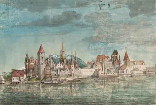 Watercolor in shades of blue, turquoise, light brown, red. View of medieval Innsbruck, in the foreground the river Inn, on it two boats.